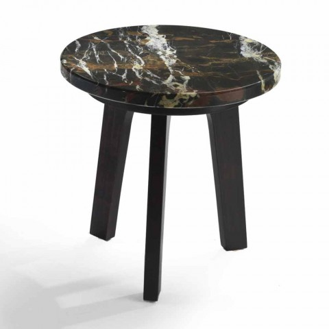 Selmo cocktail table with black-gold marble top, diameter 45 cm