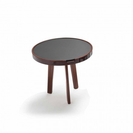 Black leather cocktail table Selmo Ø 60 cm with wooden structure