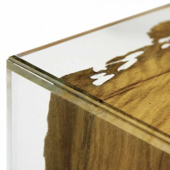 Table / in wood nightstand briccola Venice and glass Rialto
