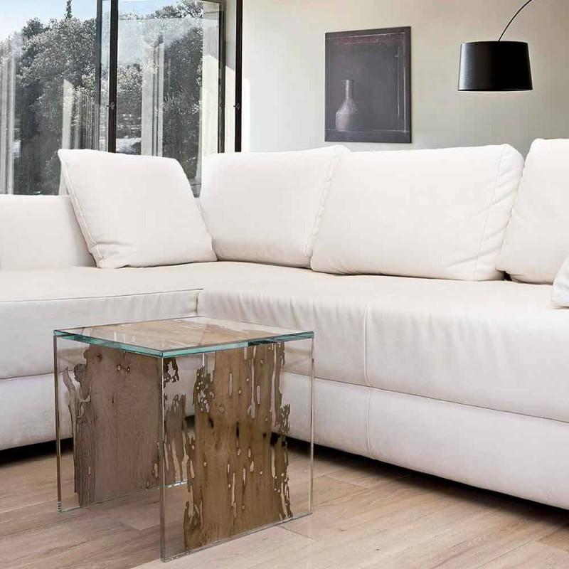 Coffee table / nightstand made of Venetian briccola wood and Rialto glass