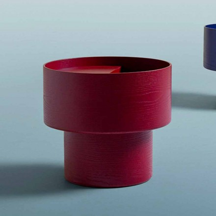 Round Bedside Table of Modern Design in Bordeaux or Blue Wood - Vinnie