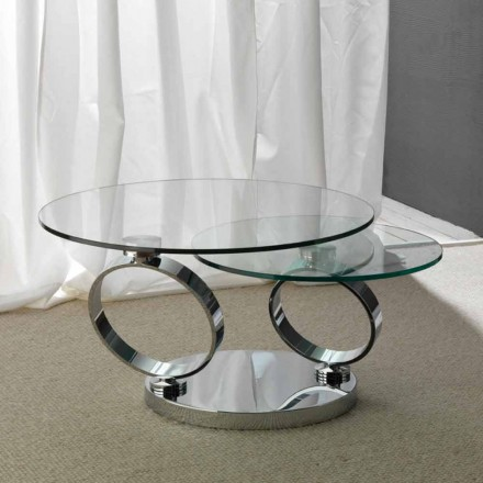 Glass coffee table Chieti with round movable table tops