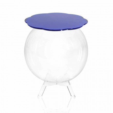 Blue storage side table with a modern design Biffy, made in Italy