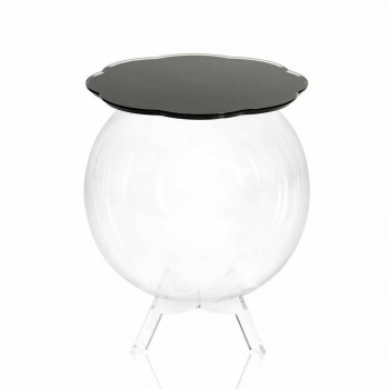 Biffy black round coffee table / container, modern design made in Italy