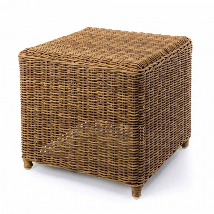 High Garden Side Table in Woven Synthetic Rattan - Yves