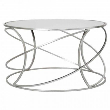 Low Coffee Table for Living Room in Iron and Modern Mirror - Corine