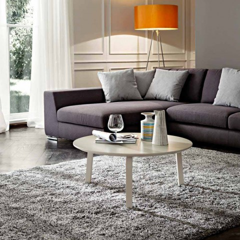 Coffee Table with Round Top in Lacquered Mdf Made in Italy - Tobiko