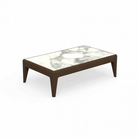Garden Coffee Table L90cm in Teak and Capraia Stoneware - Cruise Teak Talenti