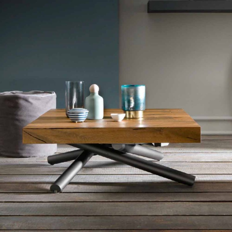 Transformable Design Coffee Table in Made in Italy Wood - Vincenzo