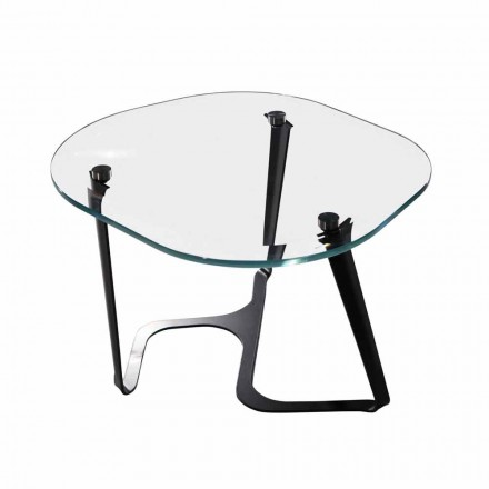 Handmade Coffee Table in Glass and Steel Made in Italy - Marbello