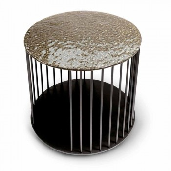 Coffee Table in Forged Crystal and Metal Made in Italy - Montebianco