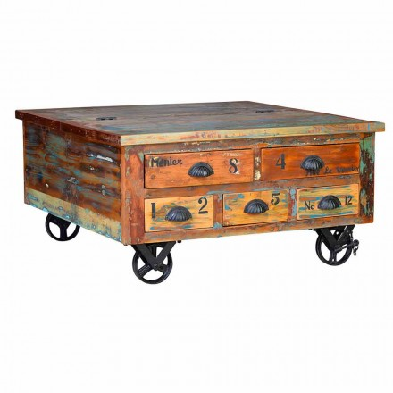 Wooden Coffee Table with Wheels and 5 Vintage Design Drawers - Gregorio