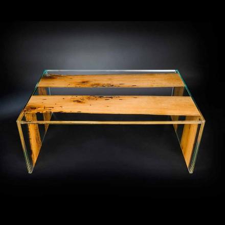 Glass and wood coffee table Venezia, 120 cm