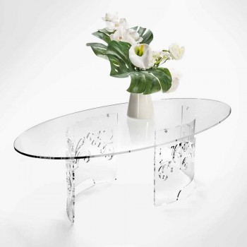 Coffee Table in Smoked or Transparent Plexiglass with Decorated Base - Crassus