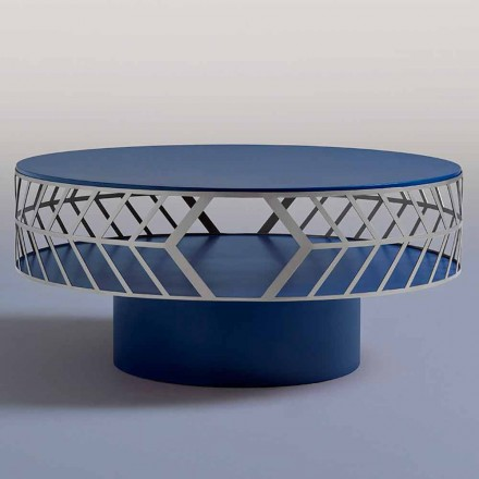Modern Low Design Coffee Table Blue or Burgundy with Ring - Lok
