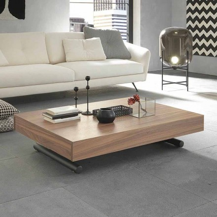 Modern Transforming Coffee Table in Wood and Metal Made in Italy - Fabio