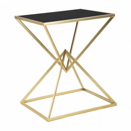 Rectangular Design Coffee Table in Iron and Glass - Rosie