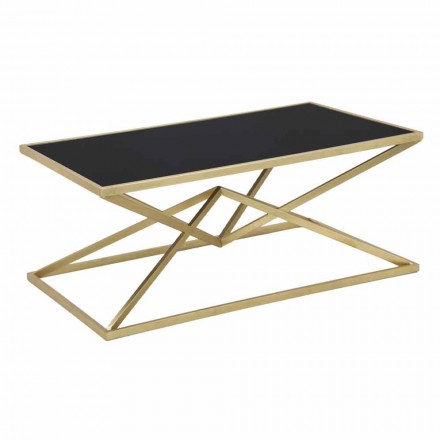 Modern Design Rectangular Coffee Table in Iron and Glass - Maggie