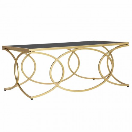 Rectangular Coffee Table in Iron and Design Mirror - Cheerfulness