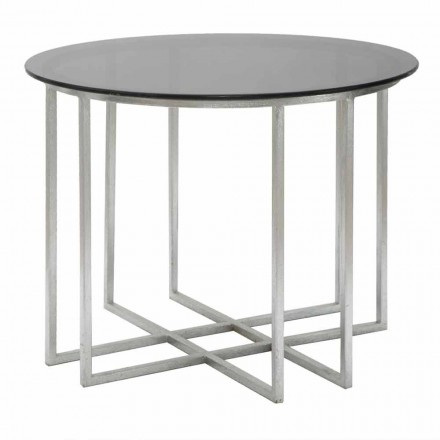 Modern Style Round Iron and Glass Coffee Table - Bambi