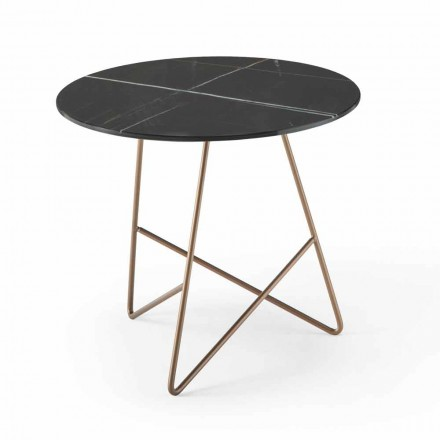 Round Coffee Table in Metal and Luxury Marble Effect Glass - Magali