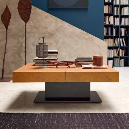 Transformer Coffee Table with Mortar Effect Top Made in Italy - Romantic