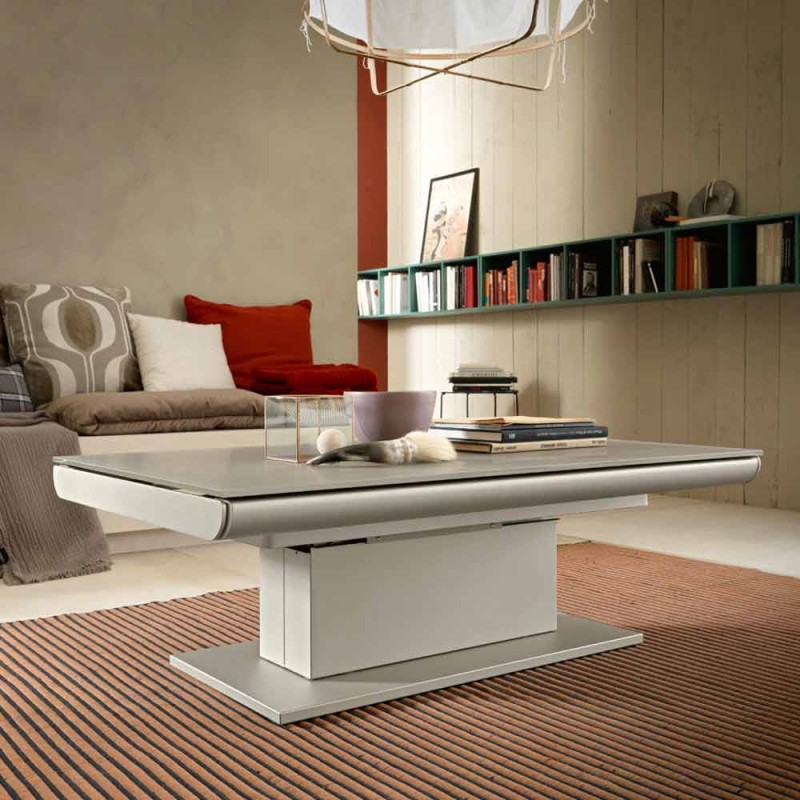 Transformable Coffee Table in Glass and Steel Made in Italy - Silvetro