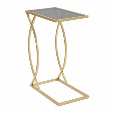 Modern Design Rectangular Sofa Table in Iron and Glass - Herbie