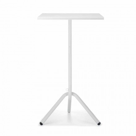 High Square Outdoor Table in Metal and Sheet Metal Made in Italy - Archibald