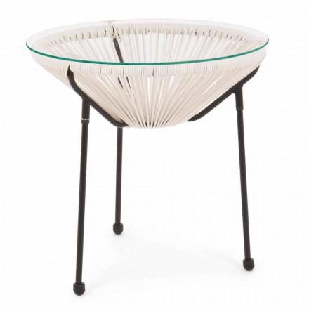 Outdoor Steel Table with Design Glass Top - Spumolizia