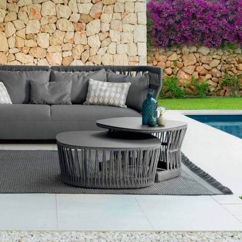 Cliff Talenti outdoor coffee table in aluminum and rope by Palomba