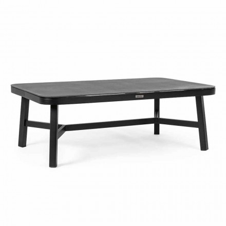 Outdoor Table in Black Aluminum with Homemotion - Morena Glass Top
