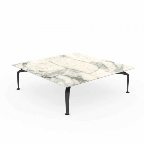 Square Outdoor Table in Gre Calacatta and Aluminum - Cruise Alu by Talenti
