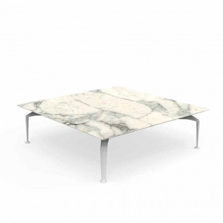 Calacatta Stoneware Square Outdoor Coffee Table - Cruise Alu by Talenti