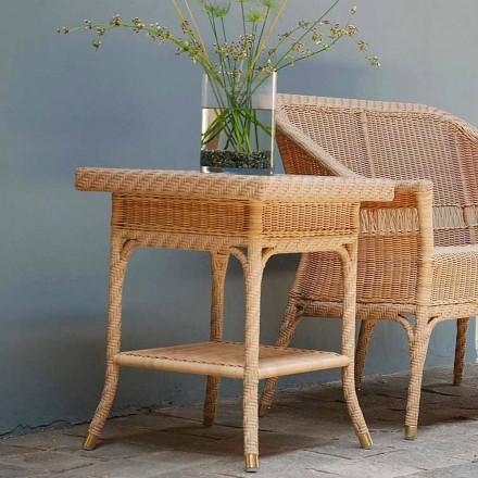 Outdoor coffee table Chad 56x56 cm, handmade weaving, modern design