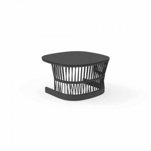 Cliff Talenti garden coffee table, Palomba design, rope and aluminum