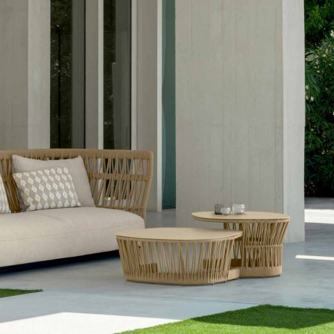 Cliff Talenti garden side table, Palomba design, rope and aluminum