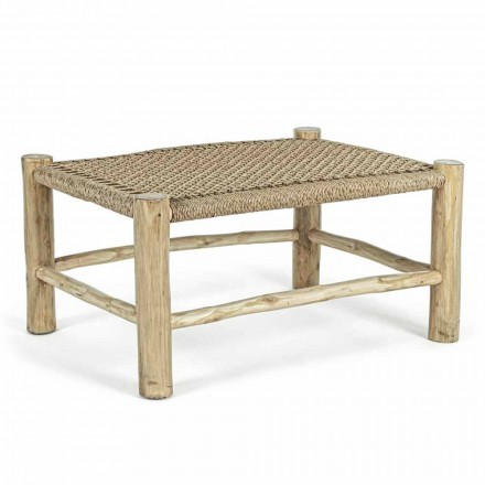 Garden Coffee Table in Teak Branches with Top in Woven Fiber - Tecno