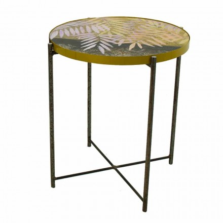 Indoor or Outdoor Coffee Table with Metal Structure Made in Italy - Carim