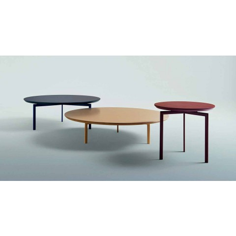 3 Legs Coffee Table in Steel and Colored Wood Top - Pretty