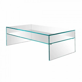 Bridge coffee table in extra-clear glass Made in Italy - Tifrana