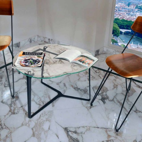 Artisan Coffee Table in Glass and Steel Made in Italy - Alicante