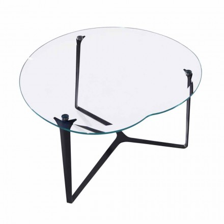 Coffee Table, Handcrafted, in Glass and Steel Made in Italy - Alicante