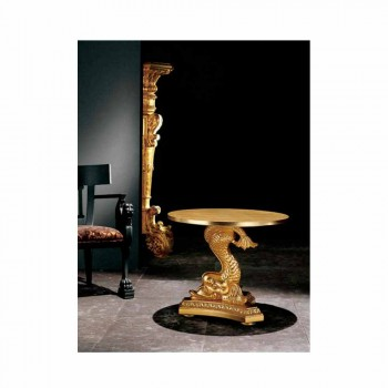 Classic carved solid wood coffee table, Ciro