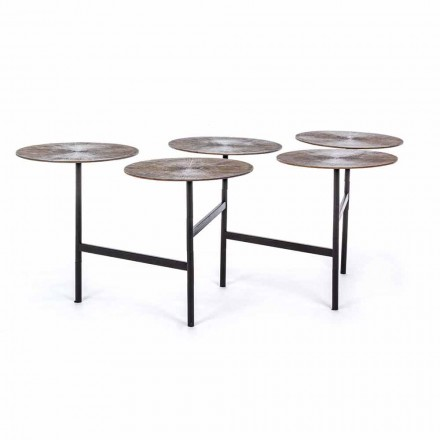 Homemotion Coffee Table with 5 Round Aluminum Tops - Pollino