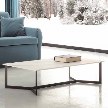 Coffee Table with Hpl Top White Marble Effect Made in Italy - Indio