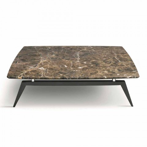 Coffee Table with Marble Top and Wooden Base Made in Italy - Raise