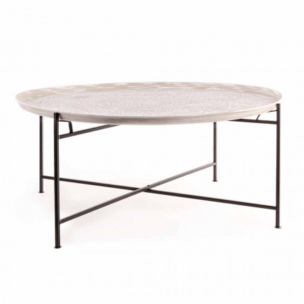 Homemotion Coffee Table with Round Top and Steel Base - Tullio