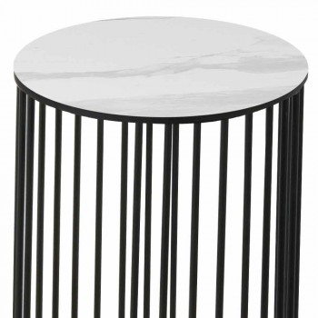 Coffee Table with Round Ceramic Top Made in Italy - Montebianco
