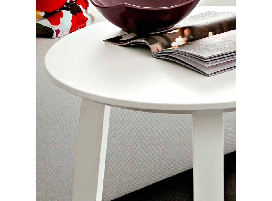 Coffee Table with Round Top in Fenix Made in Italy, Precious - Tobiko